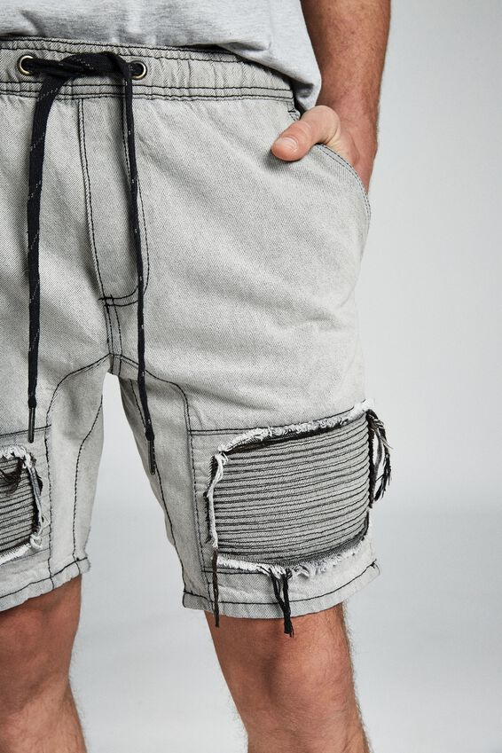 Customised Denim Short, STONE MOTO + RIPS