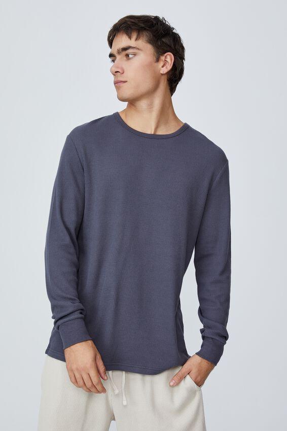 Waffle Long Sleeve T-Shirt, LATE NIGHT BLUE