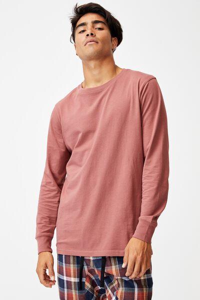 Organic Sleep Jersey Long Sleeve T-Shirt, OX BLOOD