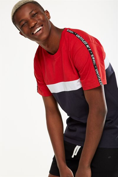 Downtown Loose Fit Tee, TRUE NAVY/STRONG RED/WHITE/NU-NOUVEAU TAPE