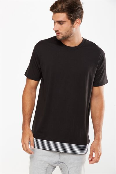 Double Block Tee, BLACK/BLACK/WHITE STRIPE
