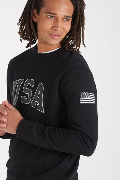 Crew Fleece 2, BLACK/USA