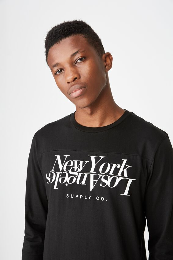 Tbar 3/4 Baseball Tee, BLACK/LOS ANGELES NEW YORK