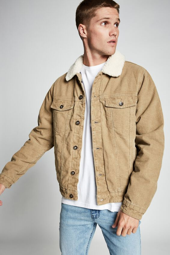 Borg Denim Jacket, SAND CORD