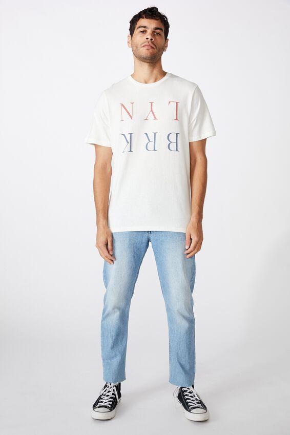 Tbar Text T-Shirt, VINTAGE WHITE/BRKLYN FLIPPED