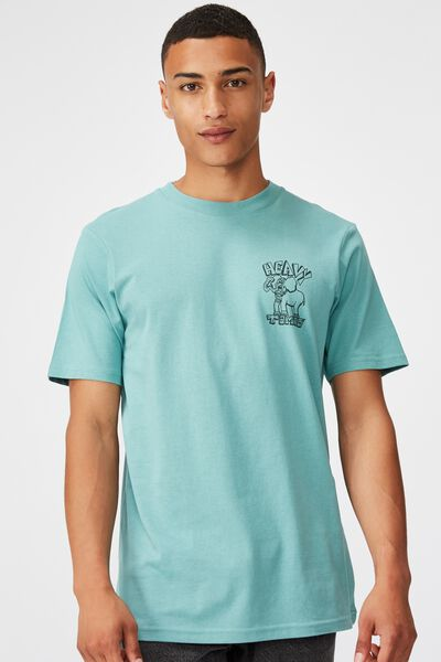 Tbar Art T-Shirt, SK8 DUSTY TEAL/HEAVY TIMES