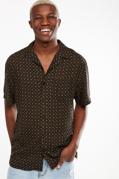91 Short Sleeve Shirt, BLACK VINTAGE GEO