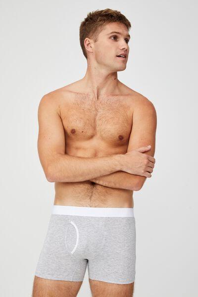 Mens Organic Cotton Trunks, GREY MARLE/WHITE