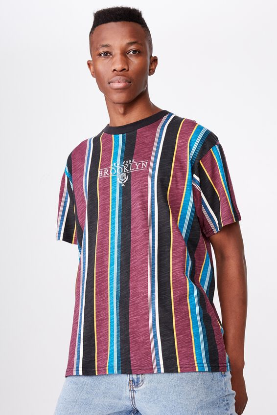 Downtown Loose Fit Tee, PORT WINE/BLACK/DEEP OCEAN/NUGGET GOLD/PEARL/NY BR
