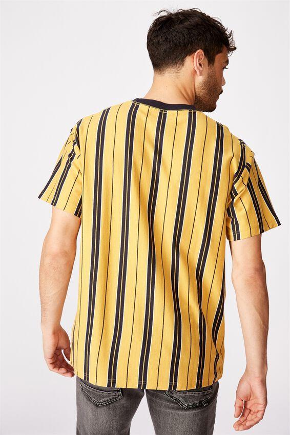 Downtown T-Shirt, NUGGET GOLD INK NAVY VINTAGE WHITE VERT STRIP