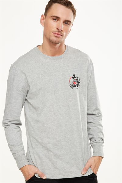 Tbar Collaboration Ls Tee, LC GREY MARLE/MICKEY TWO BIRDS