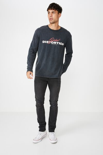 Tbar Long Sleeve, WASHED BLACK/GLOBAL DISTORTION