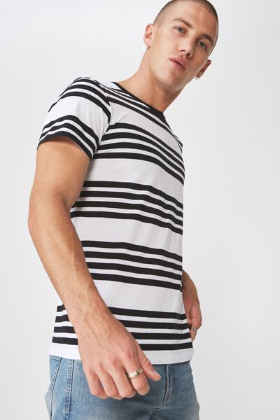 Tbar Premium Crew, WHITE/BLACK THICK MULTI STRIPE