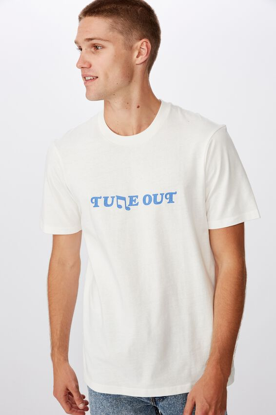 Tbar Text T-Shirt, SK8 VINTAGE WHITE/TUNE OUT