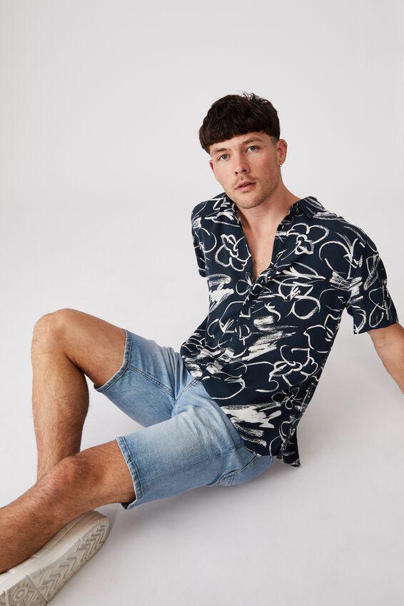 Short Sleeve Resort Shirt, FLORAL INK