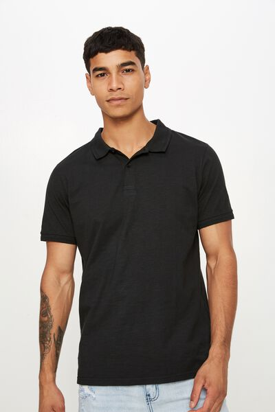 Overdyed Slub Polo, WASHED BLACK