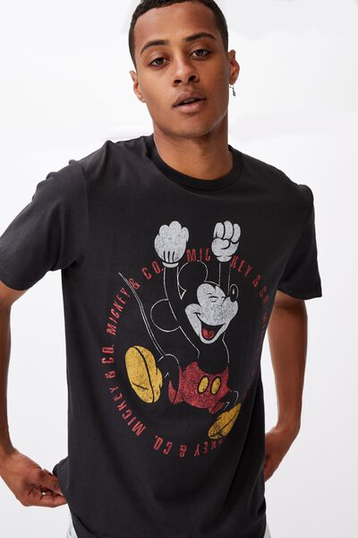 Tbar Collab Character T-Shirt, LCN DIS WASHED BLACK/MICKEY MOUSE-CIRCLE