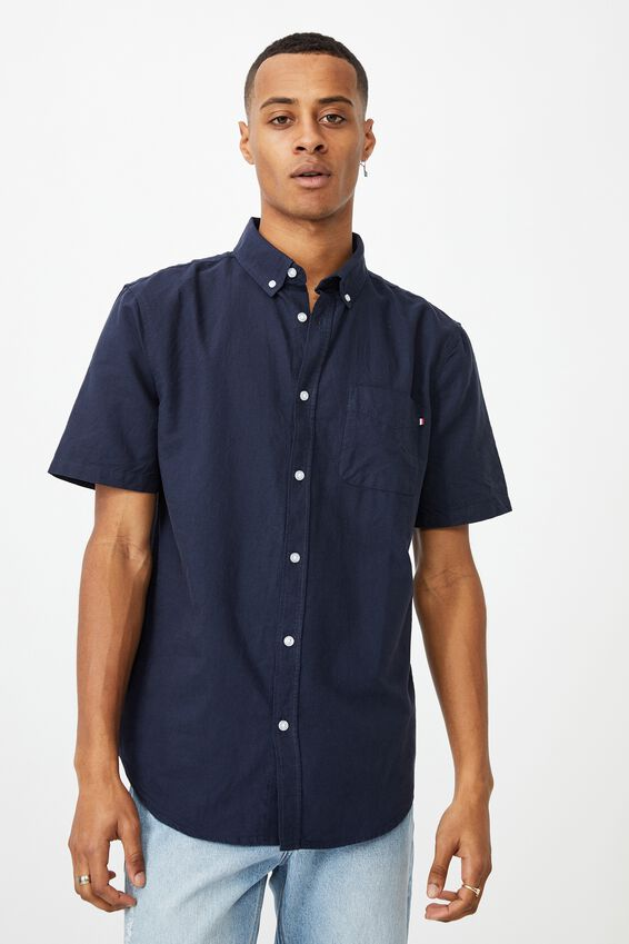 Vintage Prep Short Sleeve Shirt, NAVY OXFORD