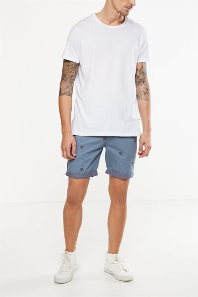Washed Chino Short, BLUE / EMBROID