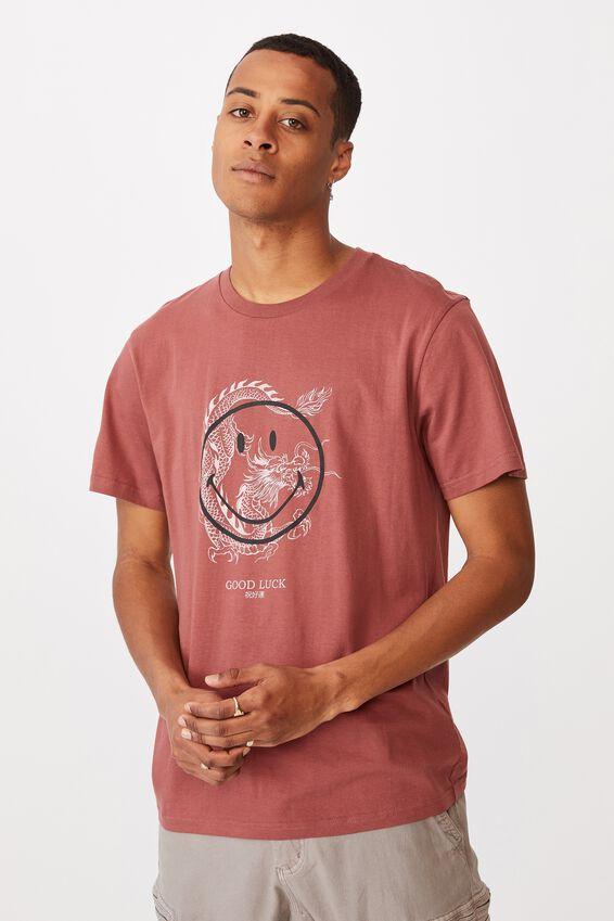 Tbar Collab Pop Culture T-Shirt, LCN SMI OX BLOOD/SMILEY-GOOD LUCK