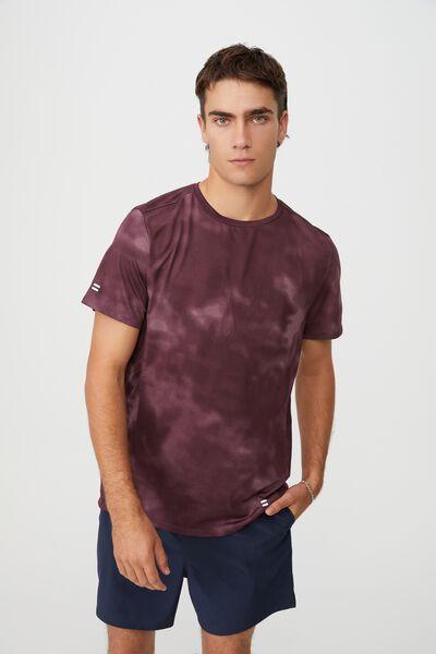 Active Tech T-Shirt, BURGUNDY MESH TIE DYE
