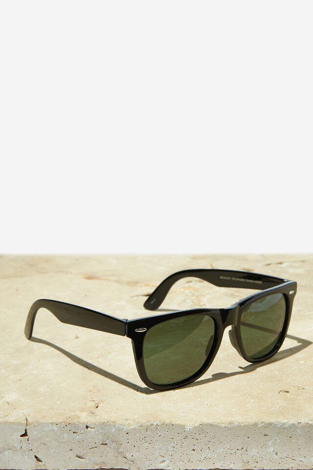 Beckley Polarized Sunglasses, GLOSS BLACK/GREEN