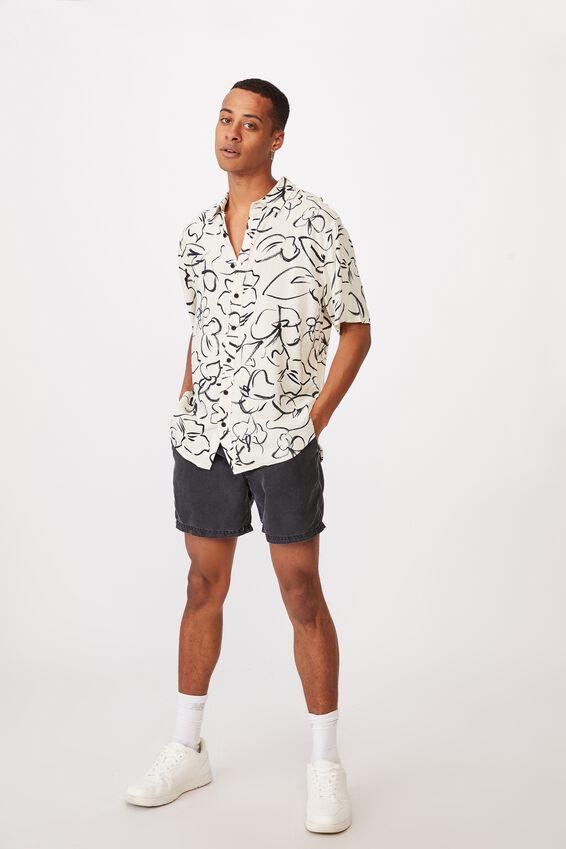 Short Sleeve Resort Shirt, SAND FLORAL INK