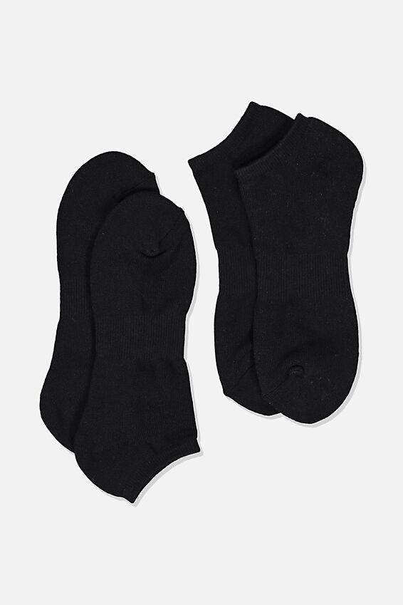 Ankle Socks 2 Pack, BLACK