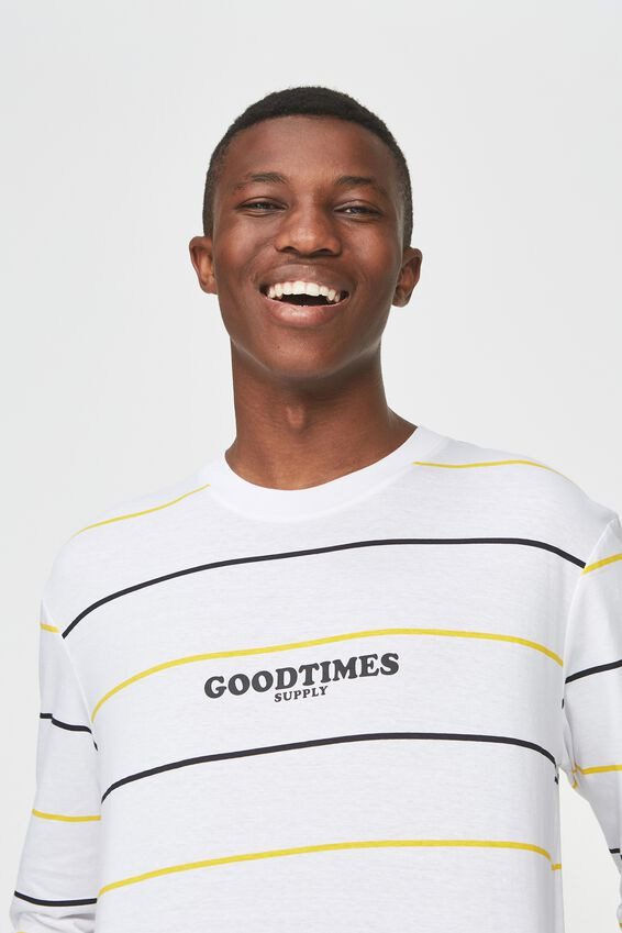 Tbar Long Sleeve, WHITE/INK NAVY/VIBRANT YELLOW/GOODTIMES STRIPE