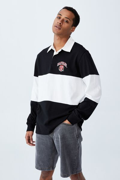Rugby Collab Long Sleeve Polo, LCN HAR BLACK VINTAGE WHITE/HARVARD MID PANEL