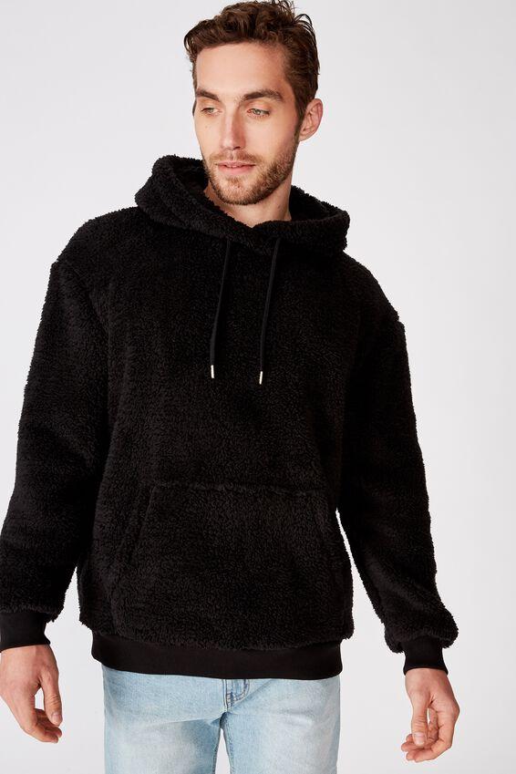 Drop Shoulder Teddy Fleece Hood, BLACK