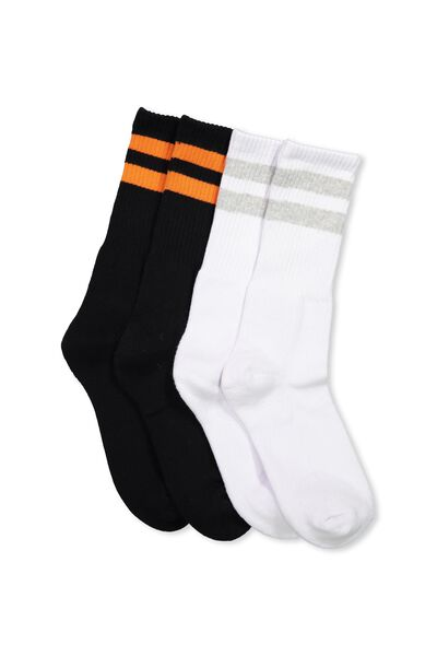 2 Pack Crew Socks, BLACK/ORANGE SPORT STRIPE