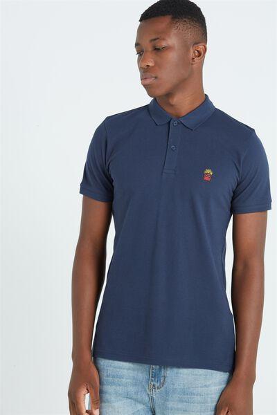 Short Sleeve Icon Polo, NAVY/FRIES