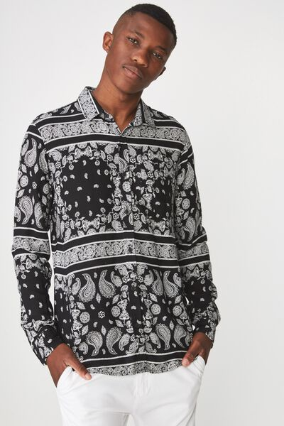 91 Shirt, BLACK PAISLEY