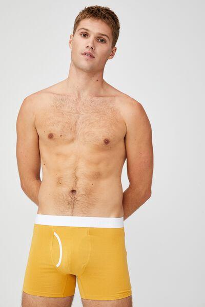 Mens Organic Cotton Trunks, GOLD/WHITE