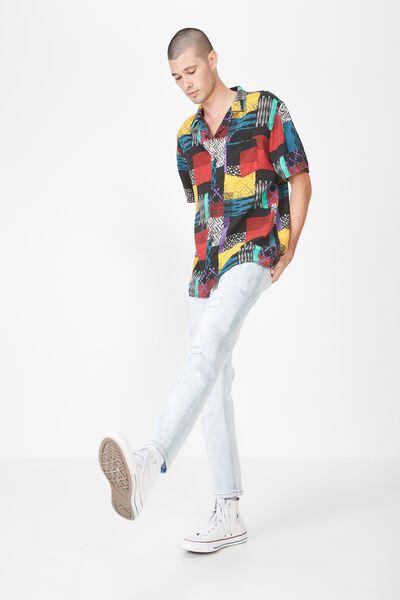 91 Short Sleeve Shirt, MULTI CO BLOCKED TRIBAL