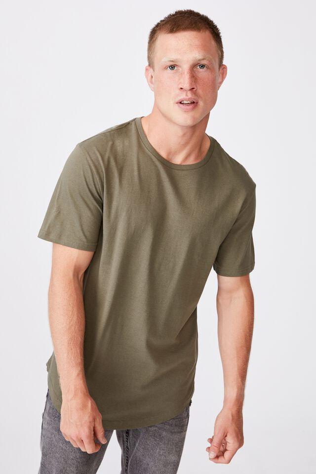 Essential Longline Scoop T-Shirt, MILITARY