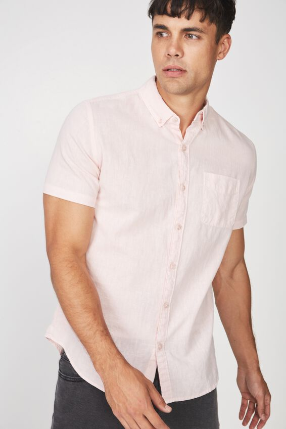 Premium Linen Cotton Short Sleeve Shirt, PINK