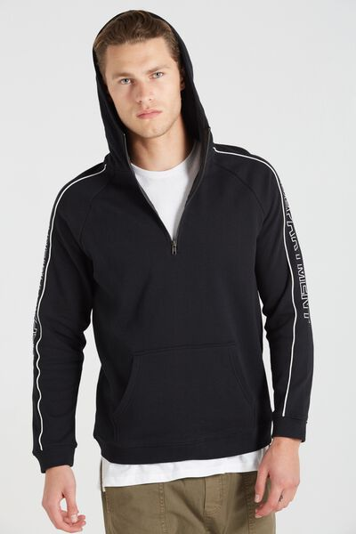 Fleece Pullover 2, BLACK/DEPARTMENT PIPING
