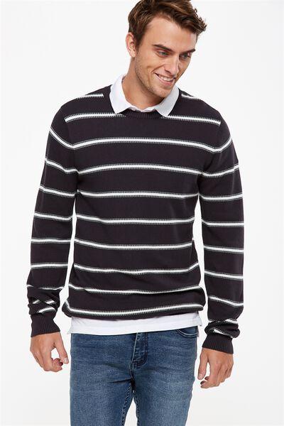 Lightweight Crew Sweater, GREY GREEN STRIPE
