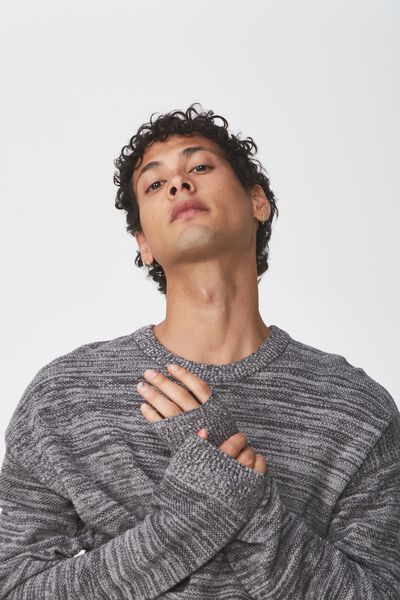 Lightweight Crew Sweater, CHARCOAL