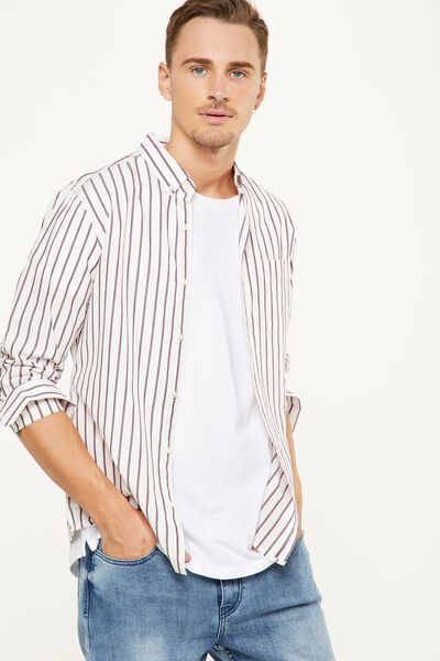 Brunswick Shirt 3, WHITE INDIGO STRIPE