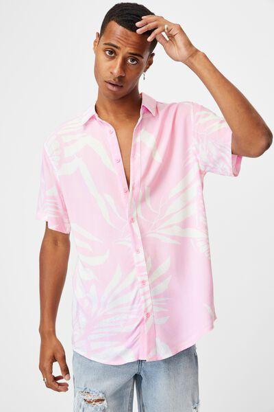 Short Sleeve Resort Shirt, PINK BUTTERFLY FROND