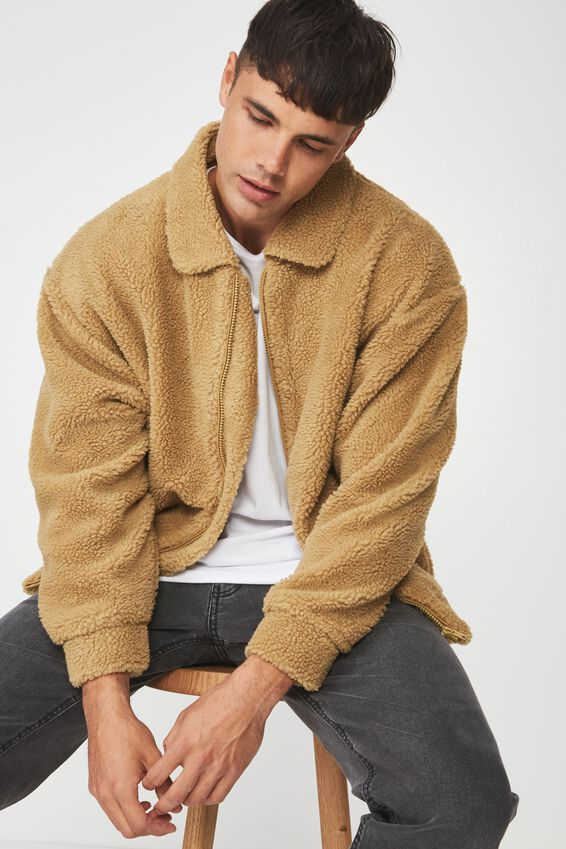 Teddy Fleece Zip Up, CAMEL