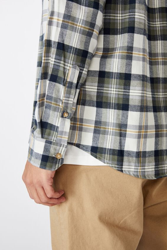 Rugged Long Sleeve Shirt, WHITE KHAKI CHECK