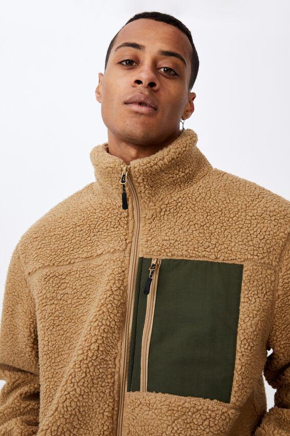 Pocket Teddy Zip Thru, TAN