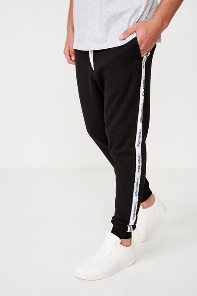 Trippy Slim Trackie, BLACK / WHITE / SYSTEMS CRITICAL