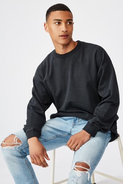 Pigment Dyed Oversized Crew, WASHED BLACK