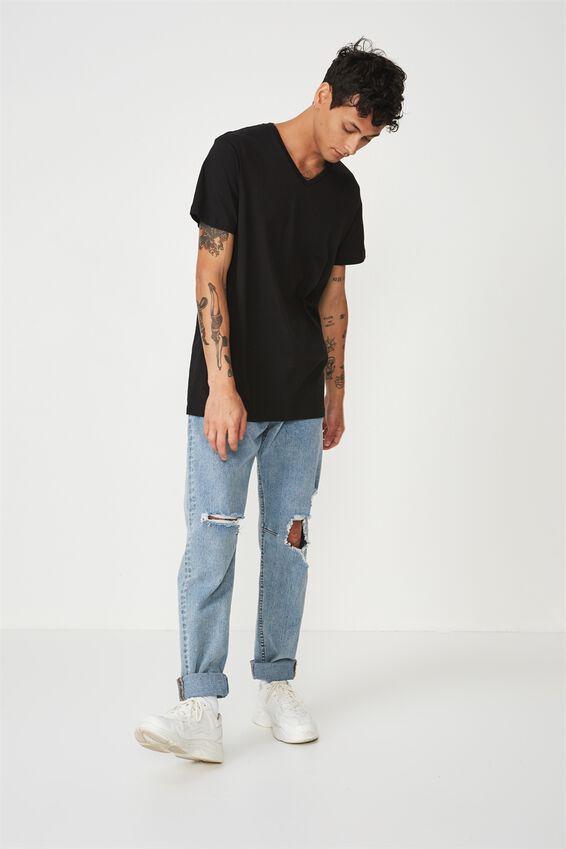 Essential Vee Neck T-Shirt, BLACK