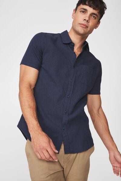 Premium Linen Cotton Short Sleeve Shirt, NAVY